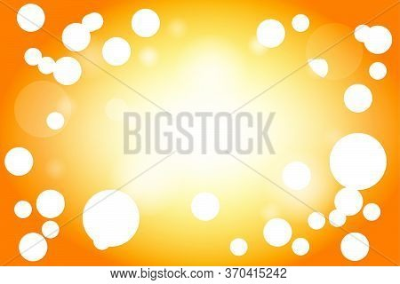 Orange Abstract Background With White Glitter Bokeh. Summer Background Illustration Vector Backgroun