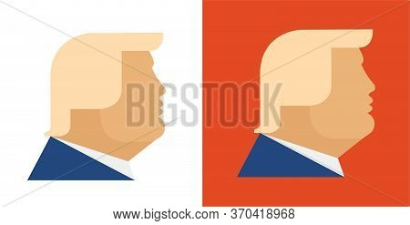 June 8, 2020: Donald Trump President Of The United States, Portrait Profile Orange Face Vector Icon,