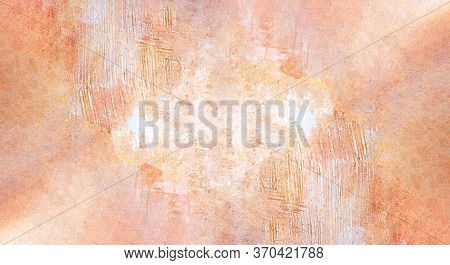 Close Up Of Coral And Orange Cement Background With Rough And Scratchy Surface. Neutral Background I