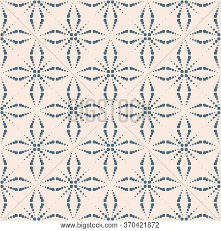 Vector Seamless Pattern With Dots. Simple Geometric Texture With Dotted Halftone Crosses, Floral Sil
