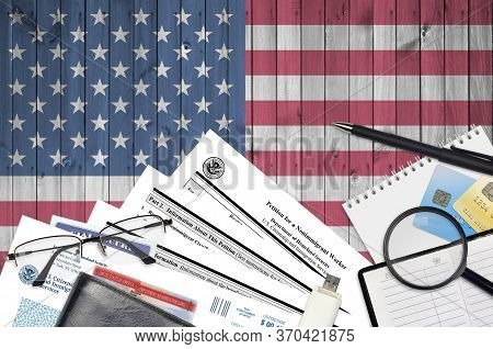 Uscis Form I-129 Petition For A Nonimmigrant Worker Lies On Flat Lay Office Table And Ready To Fill.
