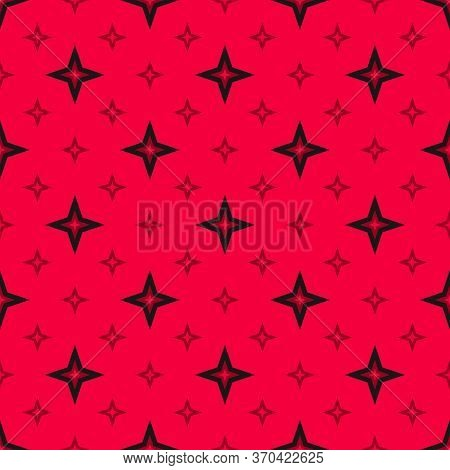Vector Stars Seamless Pattern. Abstract Minimal Geometric Texture. Simple Red And Black Ornament Wit