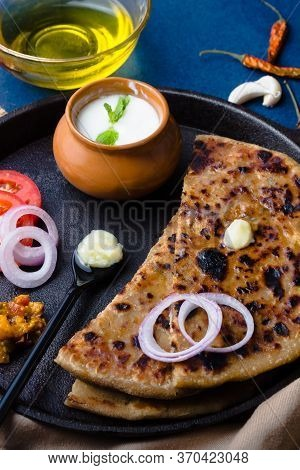 Aloo Paratha / Indian Potato Stuffed Wheat Bread Served With Ghee (indian Butter), Curd & Pickle, To