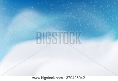 Snow Landscape In The Evening. Snow Drift. Mountainpremium Vector.