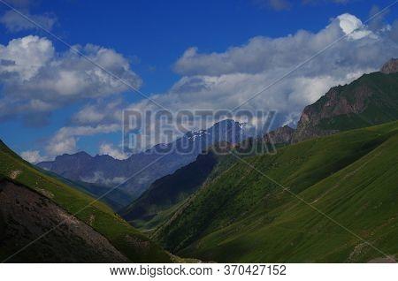The Mountains. Mountain Landscape. Sky. Mountain Ranges. High Mountains. Georgia.