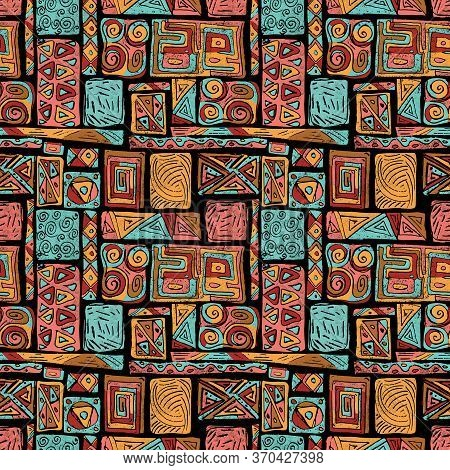 African Ethnic Style Warm Hand-drawn Seamless Pattern Illustration Background. Good For Gift Wrappin