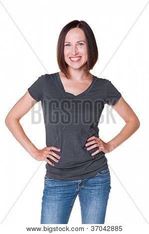 satisfied young woman posing over white background