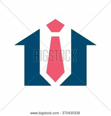 Home And Neck Tie Logo, House And Tie Icon, Real Estate Broker Symbol, Tie Shop Vector Illustration,