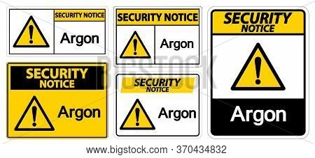 Security Notice Argon Symbol Sign Isolate On White Background,vector Illustration Eps.10