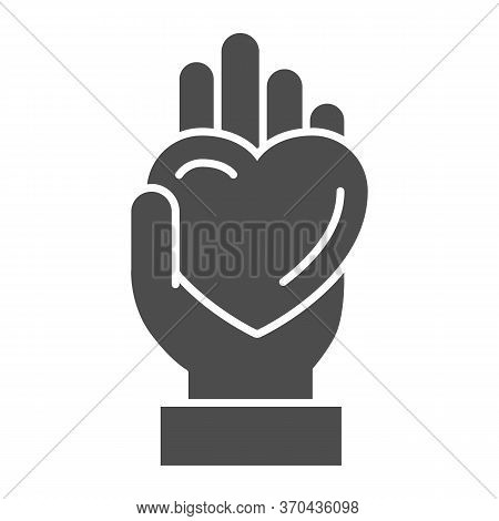 Hand Giving Heart Solid Icon, Lgbt Love Concept, Lgbt Give Heart Sign On White Background, Love Symb