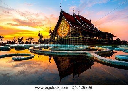 Amazing Temple Sirindhorn Wararam Phuproud In Ubon Ratchathani Province At Twilight Time,thailand.th
