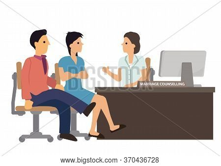 Couple In Marriage Counseling. Advice From A Psychologist, Counselor, Therapist, Psychiatrist Or Rel