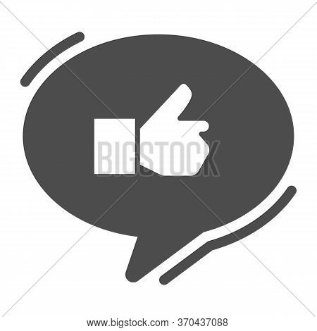 Ok Gesture In Chat Bubble Solid Icon, Hand Gestures Concept, Thumbs Up Sign On White Background, Lik