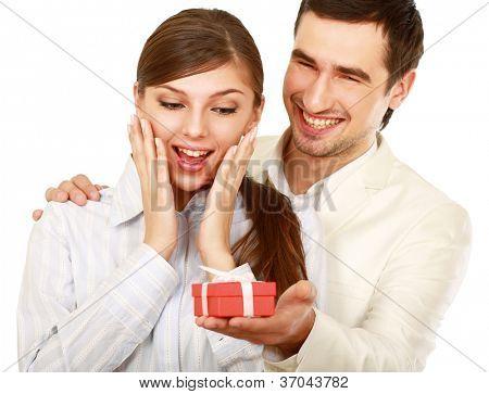 Romantic couple, isolated on white background