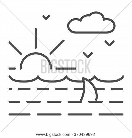 Ocean Waves With Shark Thin Line Icon, Nautical Concept, Ocean Landscape With Sun, Clouds And Seagul