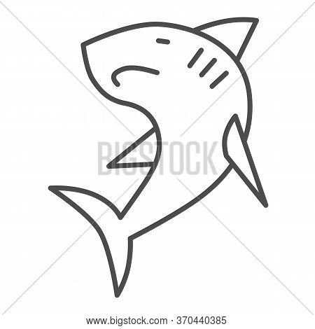 Shark Thin Line Icon, Ocean Concept, Danger Marine Fish Sign On White Background, Shark Silhouette I