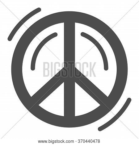 Pacifist Symbol Solid Icon, Human Rights And Tolerance Concept, Peace And No War Sign On White Backg