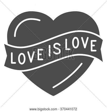 Love Is Love Heart Symbol Solid Icon, Lgbt Concept, Love Sign On White Background, Lgbt Heart With T