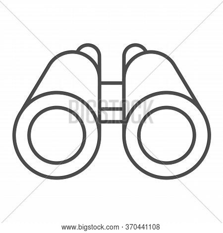 Binoculars Thin Line Icon, Ocean Concept, Binocular Sign On White Background, Marine Researcher Opti