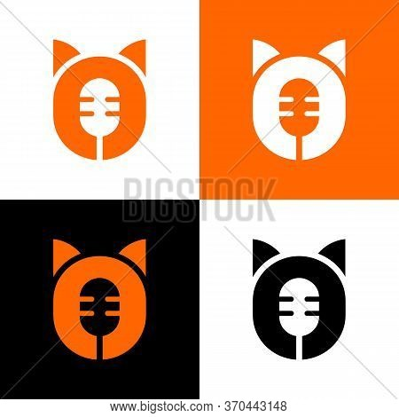 Animal Podcast Logo Icon, Animals Radio Symbol, Microphone And Animal Silhouette Illustration - Vect