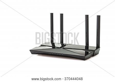 Dual Band Gigabit Wi-fi 6 Router Or Wireless Ax Router Isolated On White Background.clipping Paths I