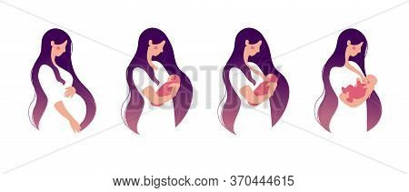 A Young Woman Holds A Baby In Her Arms And Breastfeeds. Set For Animation About Breastfeeding. Flat