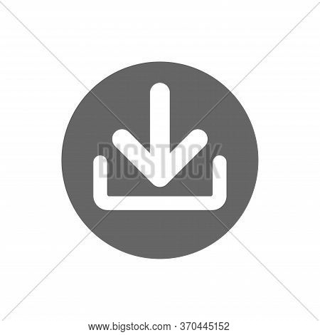 Download File Icon In Flat Style. Arrow Down Downloading Vector Illustration On White Isolated Backg