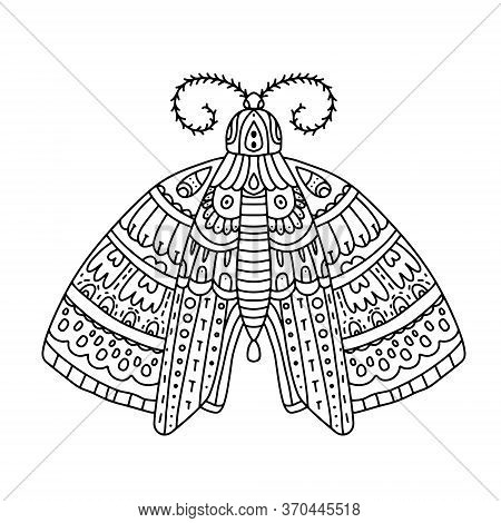 Detailed Ornamental Sketch Of A Moth, Hand Drawn Zentangle For Adult Anti Stress. Coloring Page With
