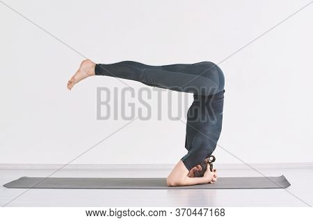 Headstand Yoga Asana. Man Morning Exercise At Home. Male Person Isolation Sport. Strong Sportsman Vi