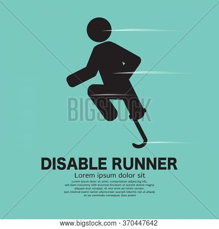 Disabled Leg Runner Icon Black Symbol On Green Background Vector Illustration. Eps 10