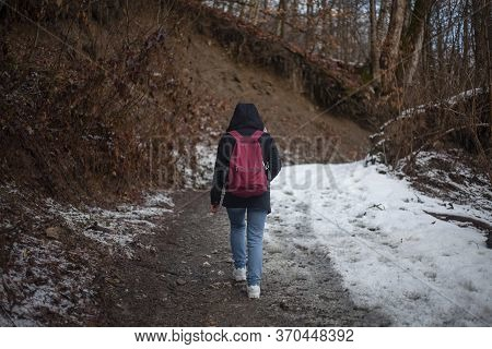 A Girl Walks Through The Woods. The Woman Lost The Road. Unknown Person Leaves On The Road. Photos F