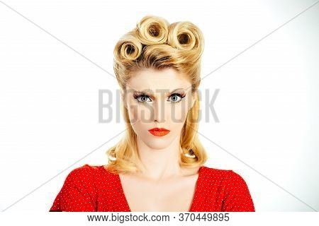 Serious Young Woman. Crazy Furious Young Pin Up Woman Standing Over White Background. Pin Up Woman P