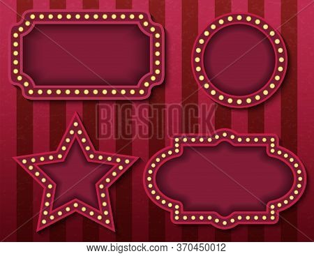 Circus Signboards. Vector Stock Brightly Glowing Retro Cinema Neon Signs Banners. Circus Style Eveni