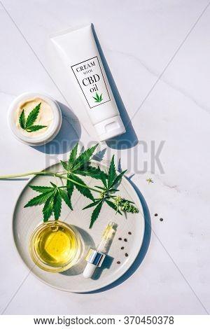 Medical Marijuana Cannabis Cbd Oil. Cbd Oil Hemp Products. Tube With An Example Of A Label, Dropper