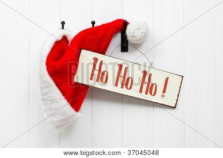 Hanging Santa Claus hat with hohoho sign - landscape version
