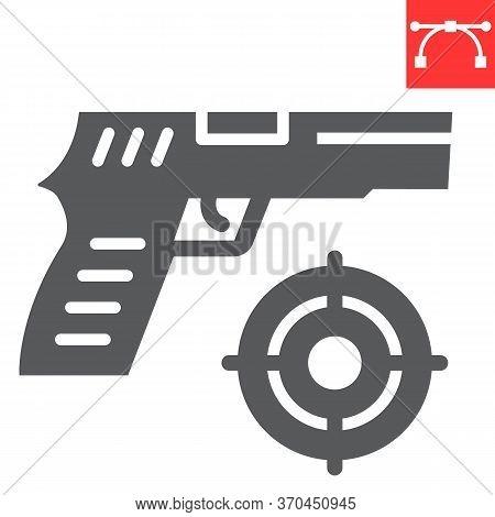 Shooter Game Glyph Icon, Video Games And Gun, Shooting Target Sign Vector Graphics, Editable Stroke