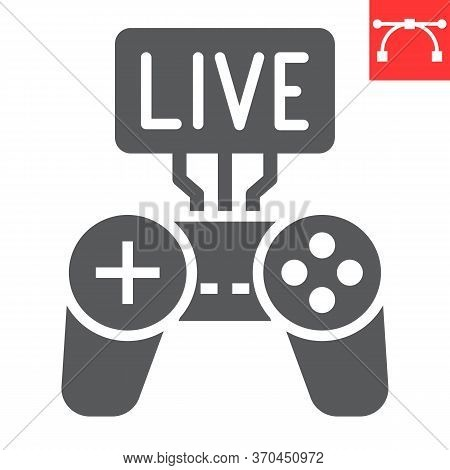 Game Streaming Glyph Icon, Video Games And Stream, Live Stream Sign Vector Graphics, Editable Stroke