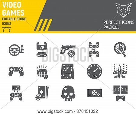 Video Games Glyph Icon Set, Gaming Symbols Collection, Vector Sketches, Logo Illustrations, Video Ga