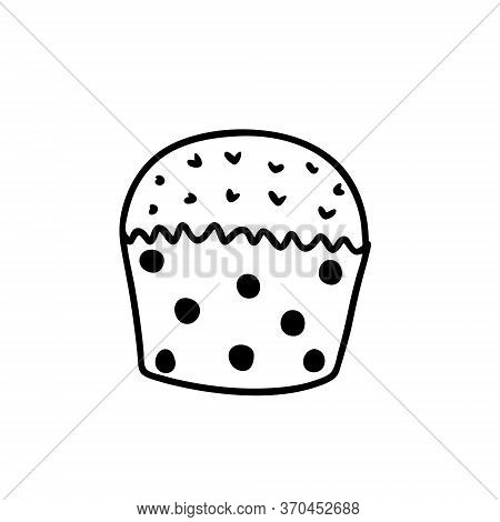 Vector Illustration Of A Cupcake In The Style Of Doodle. Isolated Cupcake On A White Background.
