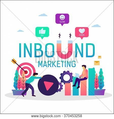 Vector Illustration Of Inbound Marketing With Magnet, Online Promotion Business Strategy. Suitable F