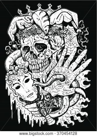 Fantasy Joker Skull With Mask And Tentacles. Esoteric, Occult And Gothic Vector Illustration With Sy