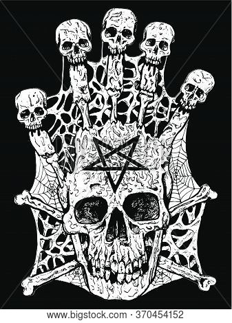 Evil Skull With Crossbones And Pentagram. Esoteric, Occult And Gothic Vector Illustration With Symbo