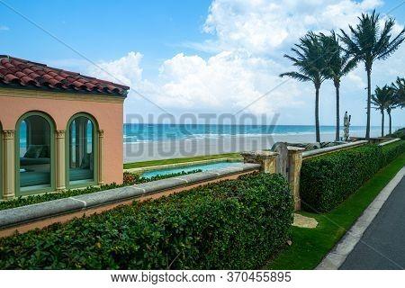 Terrace Of A Sea House Overlooking The Beach Sea, Outside
