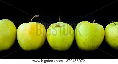 Group Of Apples Including Granny Smith, Golden Delicious And Royal Gala On A Black Background, Banne