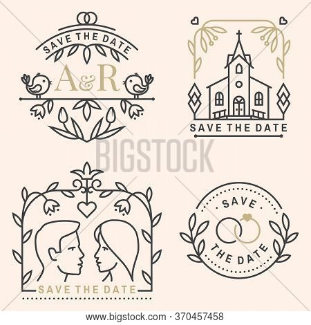 Wedding Invitation Card Template. Vector. Thin Line Geometric Badge. Outline Icon For Save The Date