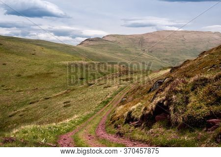 Beautiful Mountain Landscape With Hiking Trail. Mountain Landscape. Hiking In Mountain. Mountain Mea