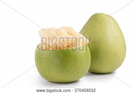 Fresh Pomelo, Pummelo, Grapefruit, Shaddock Isolated On White Background, Close Up, Cut Out, Clippin