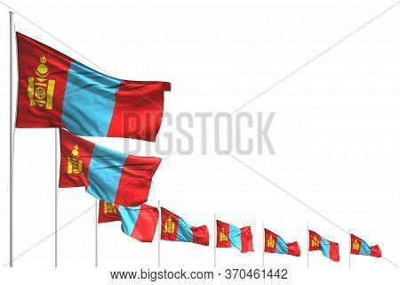 Nice Many Mongolia Flags Placed Diagonal Isolated On White With Place For Your Text - Any Holiday Fl