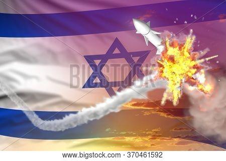 Israel Intercepted Nuclear Missile, Modern Antirocket Destroys Enemy Missile Concept, Military Indus