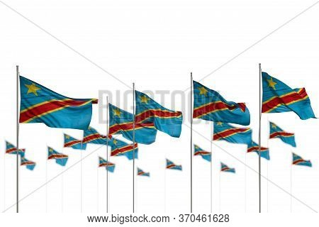 Wonderful Democratic Republic Of Congo Isolated Flags Placed In Row With Selective Focus And Place F